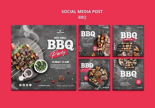 Barbeque social media post template