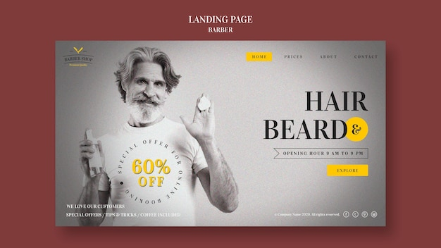 Barber shop ad landing page template