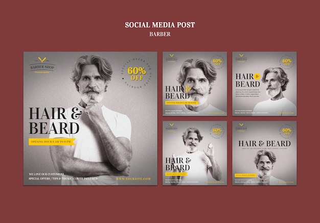 Barber shop ad social media post template