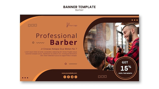 Barber shop ad template banner