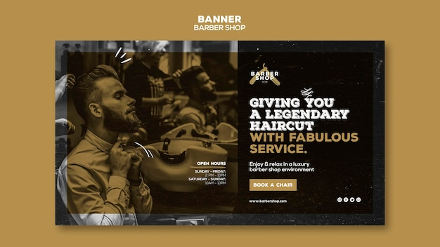 Barber shop banner template design