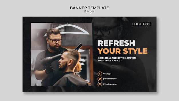 Barber shop banner template