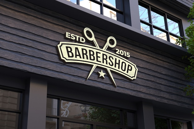 Barber shop facade 3d sign mockup
