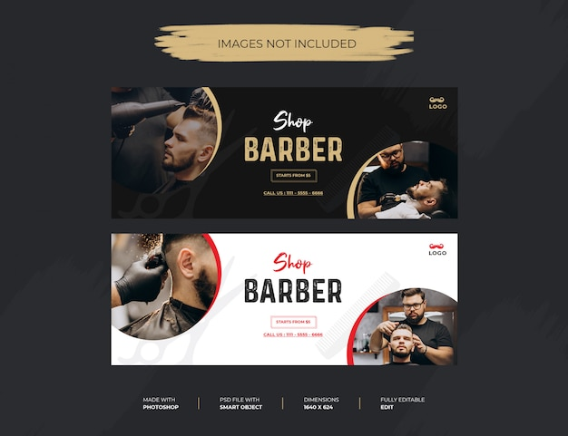 Barber shop facebook cover or header with photo