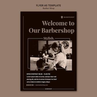 Modello di volantino del negozio di barbiere a5
