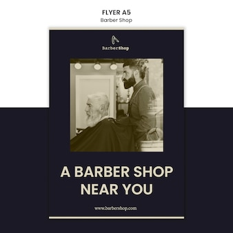 Barber shop flyer template with photo