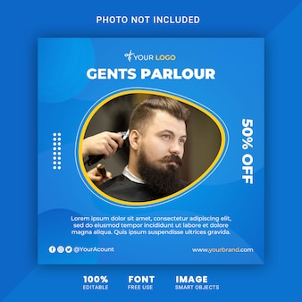 Barber shop and gents parlour, square instagram post banner template
