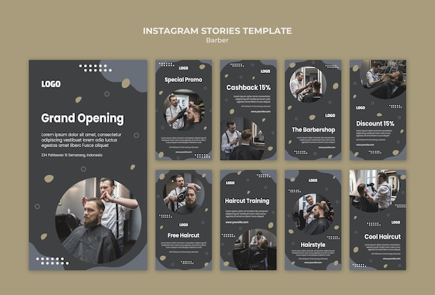 Barber shop instagram stories template