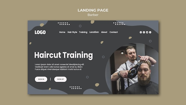 Barber shop landing page template