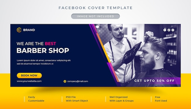 Barber shop promotional facebook cover and web banner template