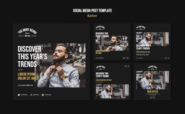 Barber shop social media post template