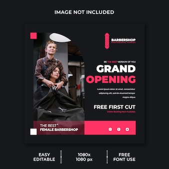 Barber shop social media template
