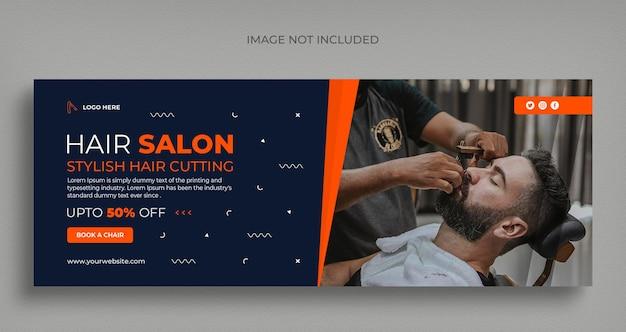 Barber shop social media web banner flyer and facebook cover photo design template
