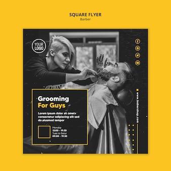 Barber shop square flyer template