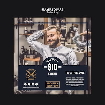 Barber shop square flyer template