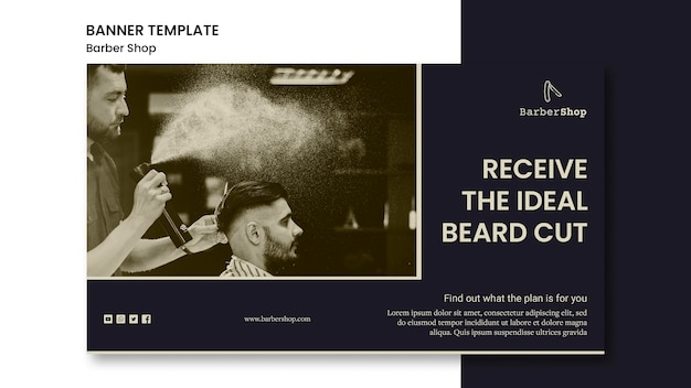 Barber shop template banner with photo