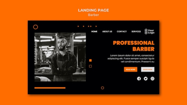 Barber shop template landing page