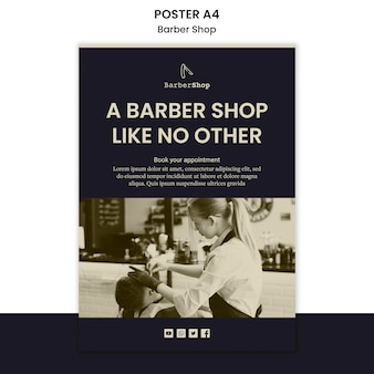 Barber shop template poster with picture