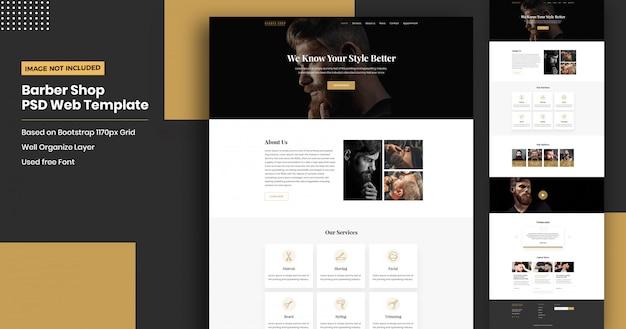理髪店のウェブサイトのランディングページテンプレート