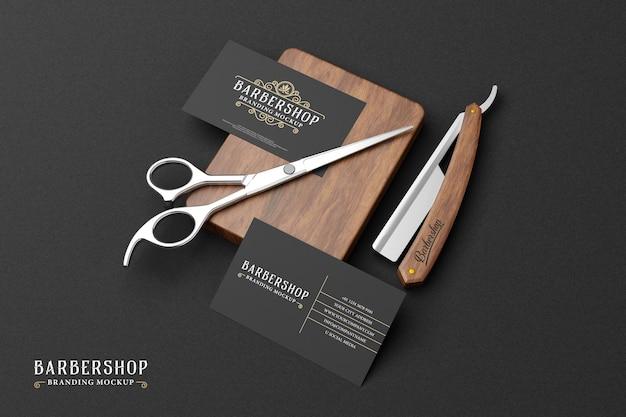 Barbershop branding mockup in dark theme