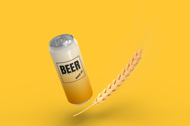 Barley beer can package mockup 3d render
