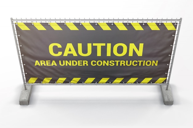 Barrier construction with banner mockup