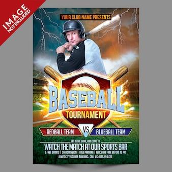 Baseball tournament sport flyer template
