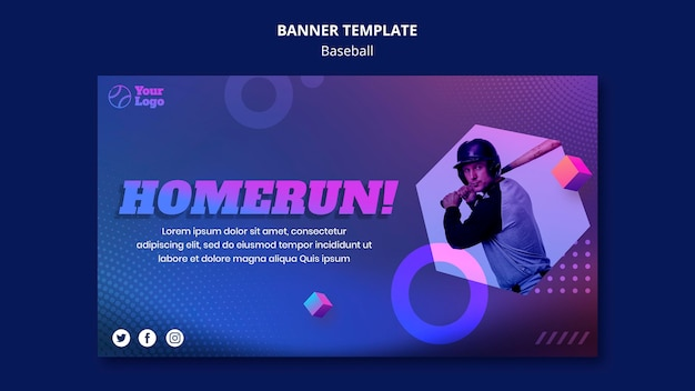 Baseball training banner template