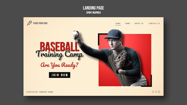 Baseball training camp landing page
