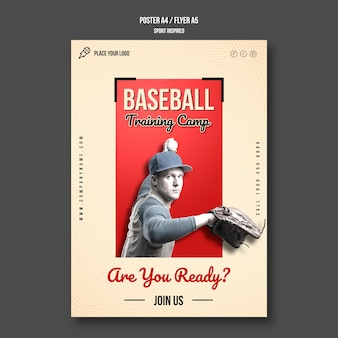 Baseball training flyer template