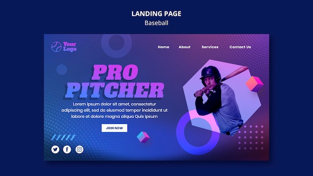 Baseball training landing page template