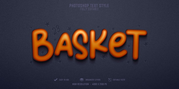 Basket 3d text style effect template design