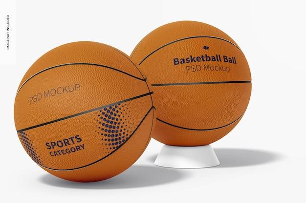 バスケットボールボールのモックアップ、背面図と正面図