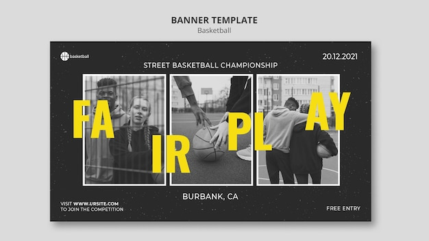 Basketball banner template with photo
