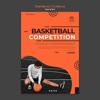 Basketball competition and man poster template