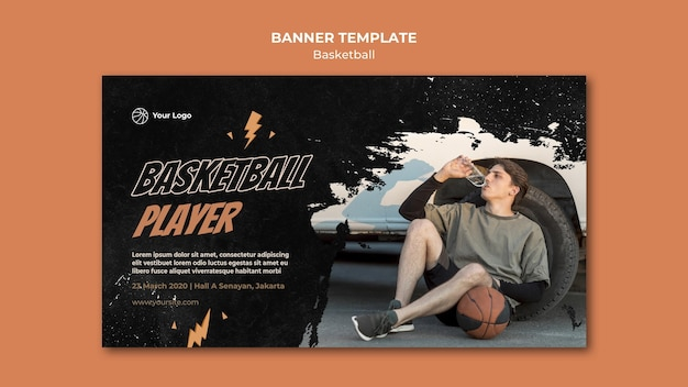 Basketball horizontal banner template with photo