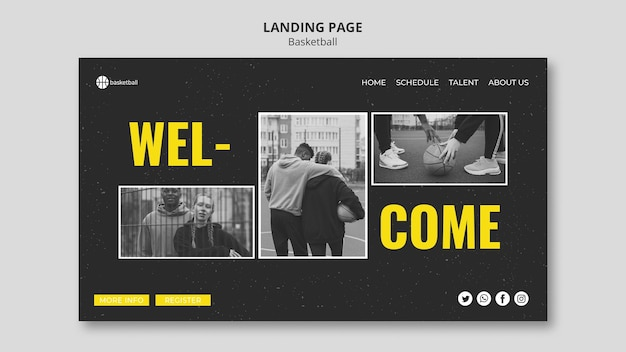 Basketball landing page template