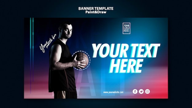 Basketball player banner template with photo