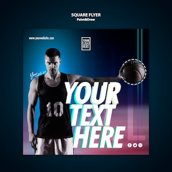 Basketball player square flyer template