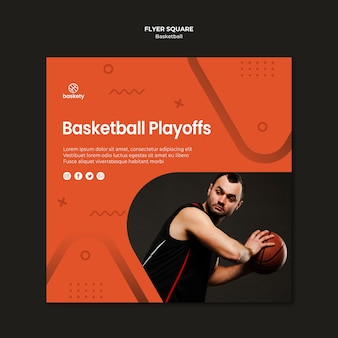 Basketball playoffs flyer square