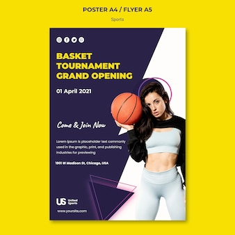 Basketball tournament print template
