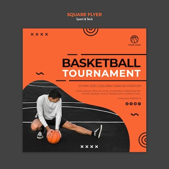 Basketball tournament square flyer template