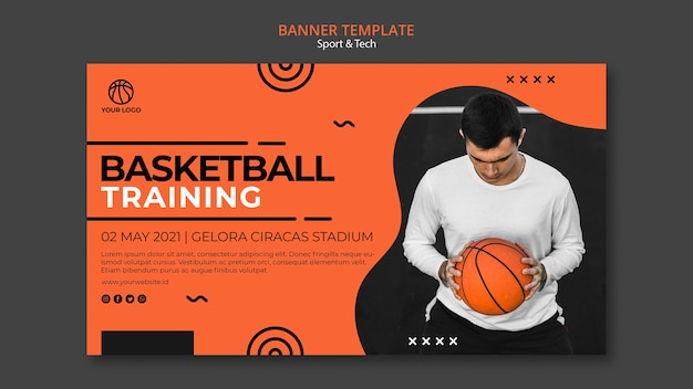 Баскетбольная тренировка и шаблон баннера человека