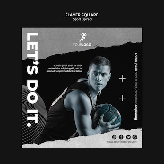 Basketball training square flyer template