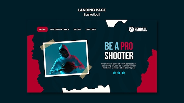 Basketball training template landing page