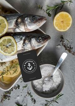 Bass fish with card mock-up arrangement