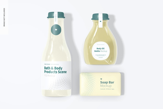 Bath and body products mockup