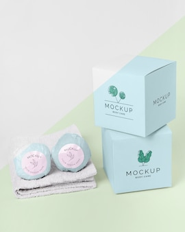 Bath bombs, boxes and towel mock-up