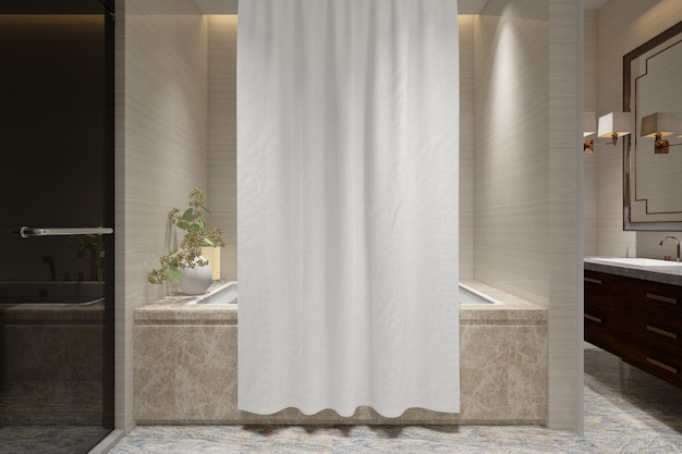 Bath curtain mockup