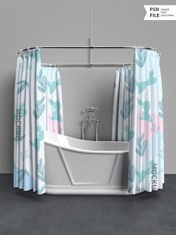 목욕 커튼 목업